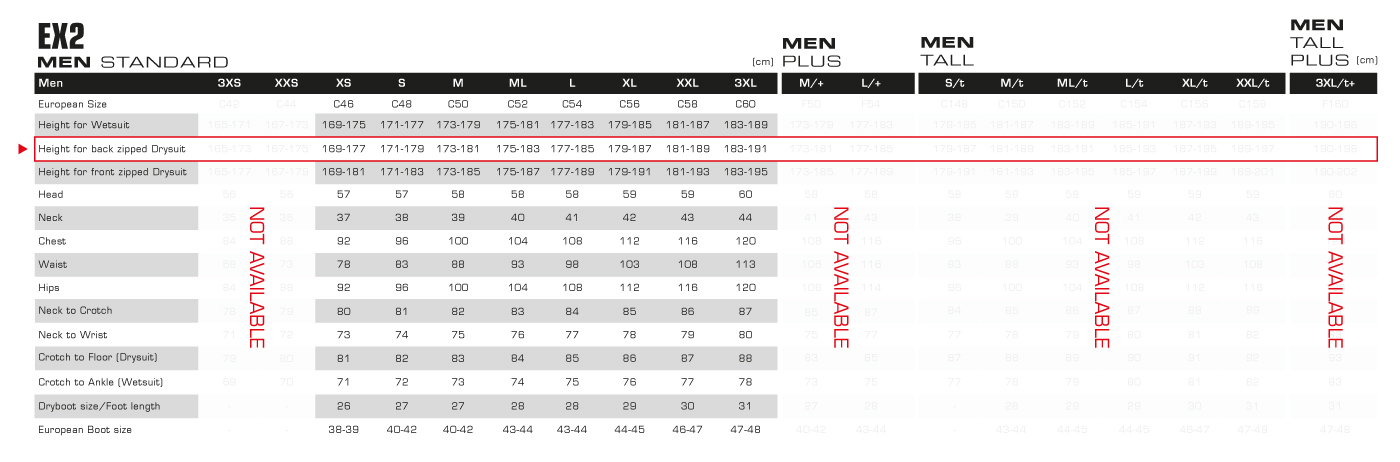 EX2 Mens Size Chart
